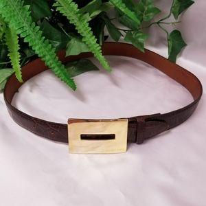 Joan & David Vintage Brown Calfskin Leather Belt